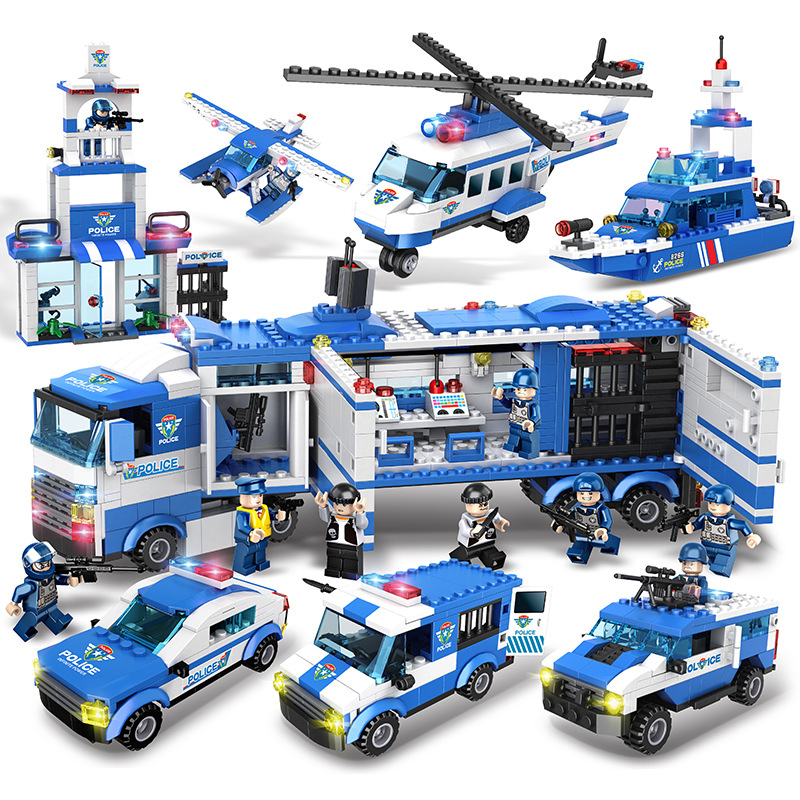 1115Pcs Kids Toys City Street Police Station Car Truck Building Blocks Bricks Educational Toys Children Gift Christmas