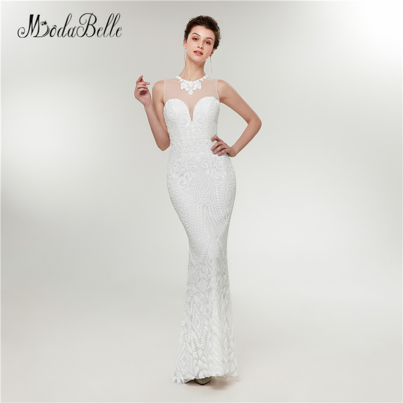 387b4f97fa2c51 modabelle Sexy Mermaid Arabic Prom Dresses White Sequined Shiny Floor  Length Vestido Formatura Sexy Gala Jurken Party Gowns 2018-in Prom Dresses  from ...
