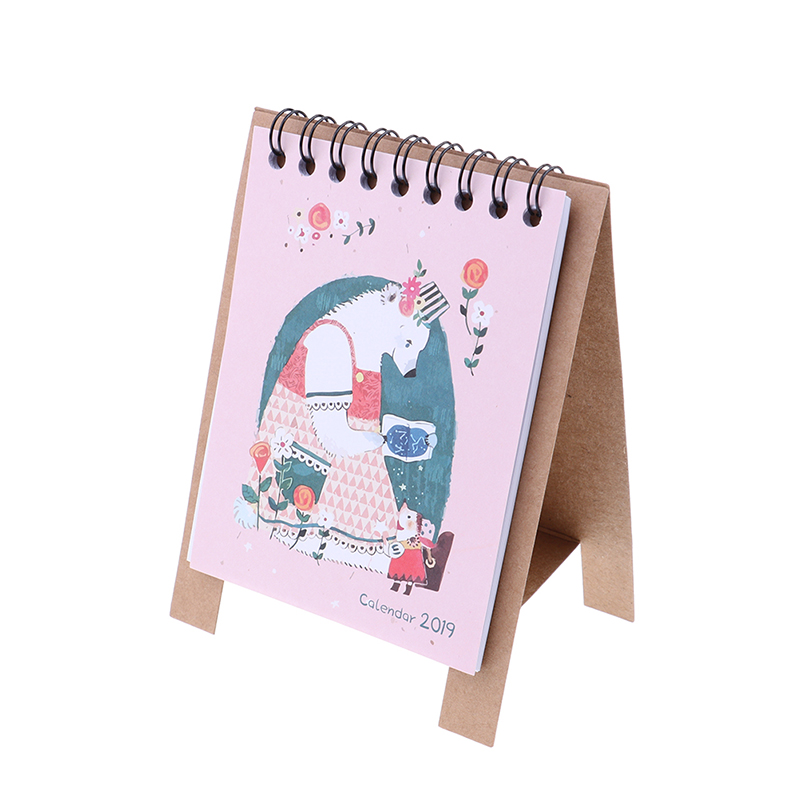 Kawaii Cartoon Animal Desk Standing Paper Calendar Multifunction Schedule Planner Notebook Calendar Office & School Supplies