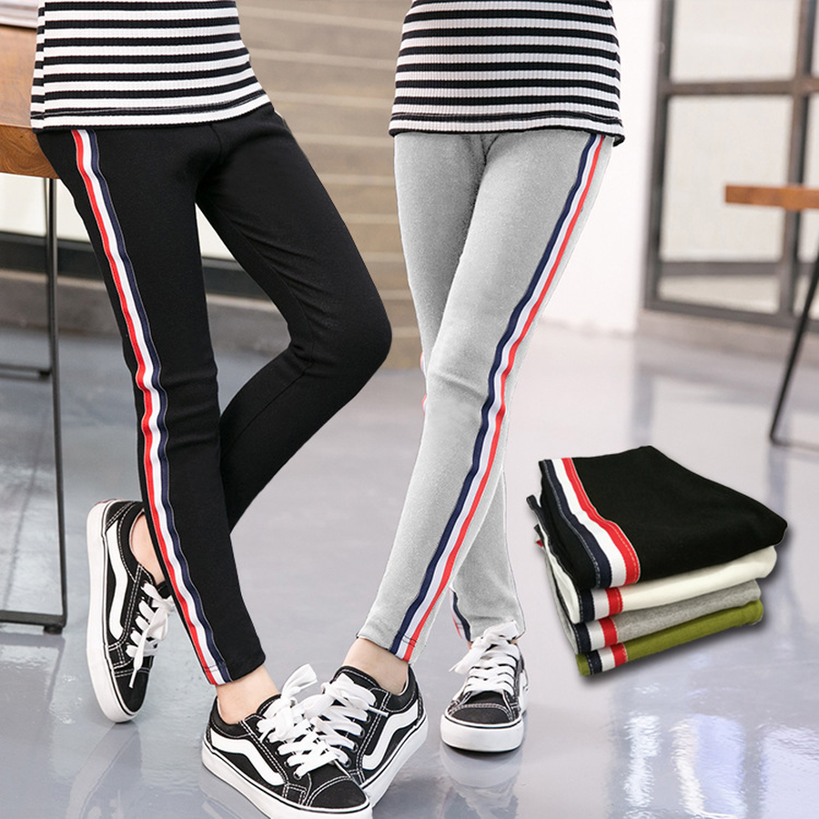 Famli Baby Girl Sport Pants Children Spring Autumn Striped Skinny Pencil Pant Lenggings for Kids Full Cotton Trousers 3Y-10Y tangnest skinny candy pencil jeans pants women 2017 ladies trousers mid waist full length zipper stretch pant for femme wkp004