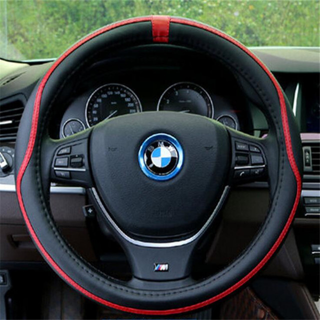 For BMW Porsche Audi Mens 38CM Car-styling Genuine Leather Steering Wheel Cover Sports Style Steering-wheel Male Hot Gift lzh