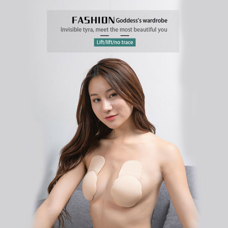 Push up Breast Lift Tape and Invisible Clear Strapless Bra or Nipple Covers