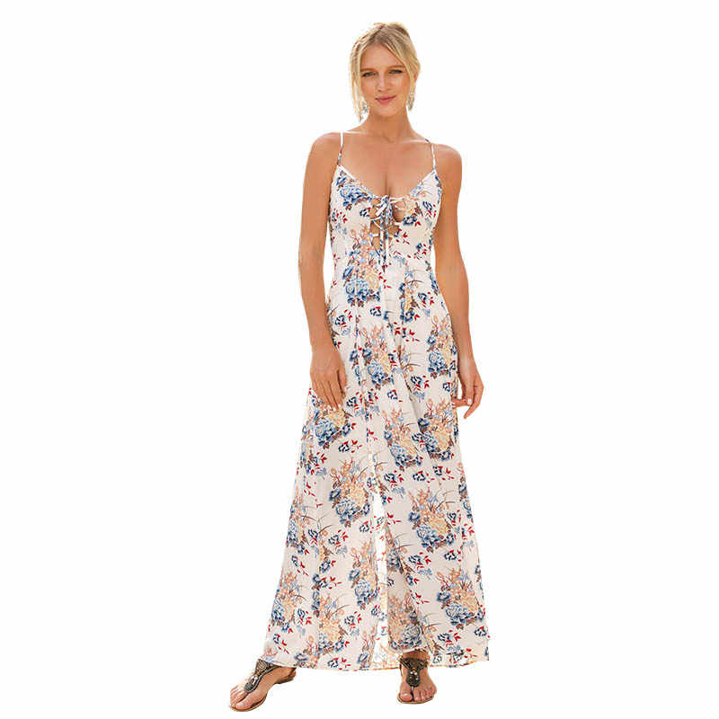 29ea334413d deep v-neck backless floral print white sun dresses women summer long maxi  boho beach