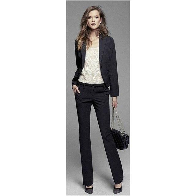 Jacket Pants Womens Business Suit Black Long Sleeves Slim Female ...
