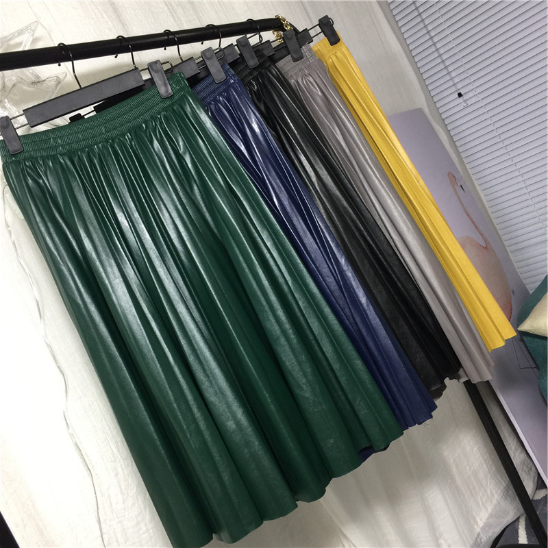 2018 11 11 PU Accordion Pleated Skirt Autumn & Winter New Style Leather Skirt High Waist Faldas Largas Elegantes Free Shipping 3