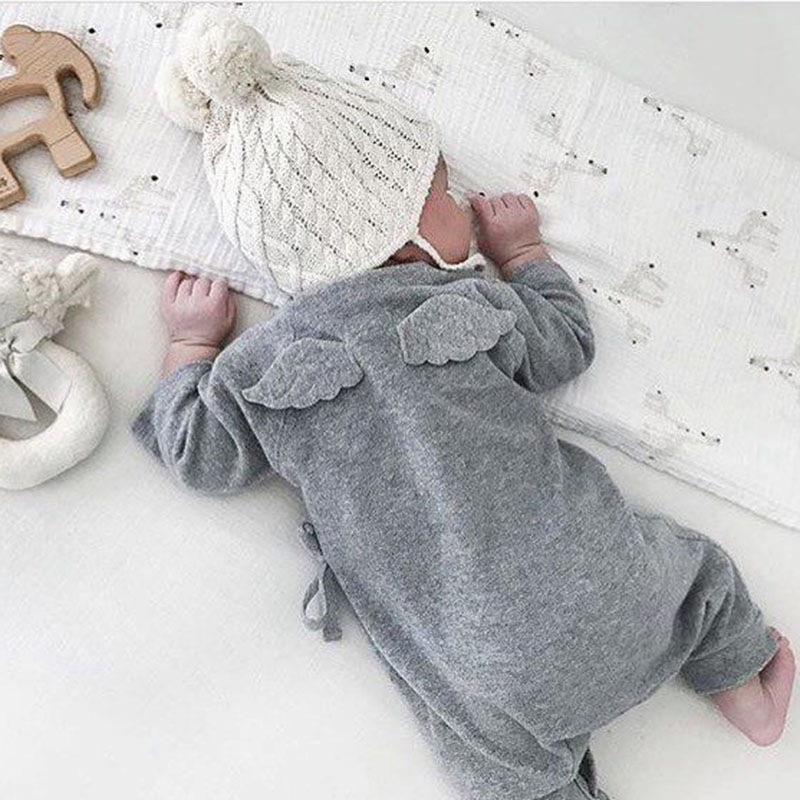 Baby Clothing Angel Wings Rompers Newborn Boy Girl Belt Clothes Long Sleeve Baby Cotton Romper Infant Overall Jumpsuit Set F30 newborn infant baby girl cotton clothes romper long sleeve plaid zipper cute jumpsuit rompers clothing outfits