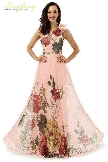 31a29f588 Huifany Floral Vestidos de Noite Quente de Um Ombro com Flores Chiffon  Mulheres Evening Vestidos Longos