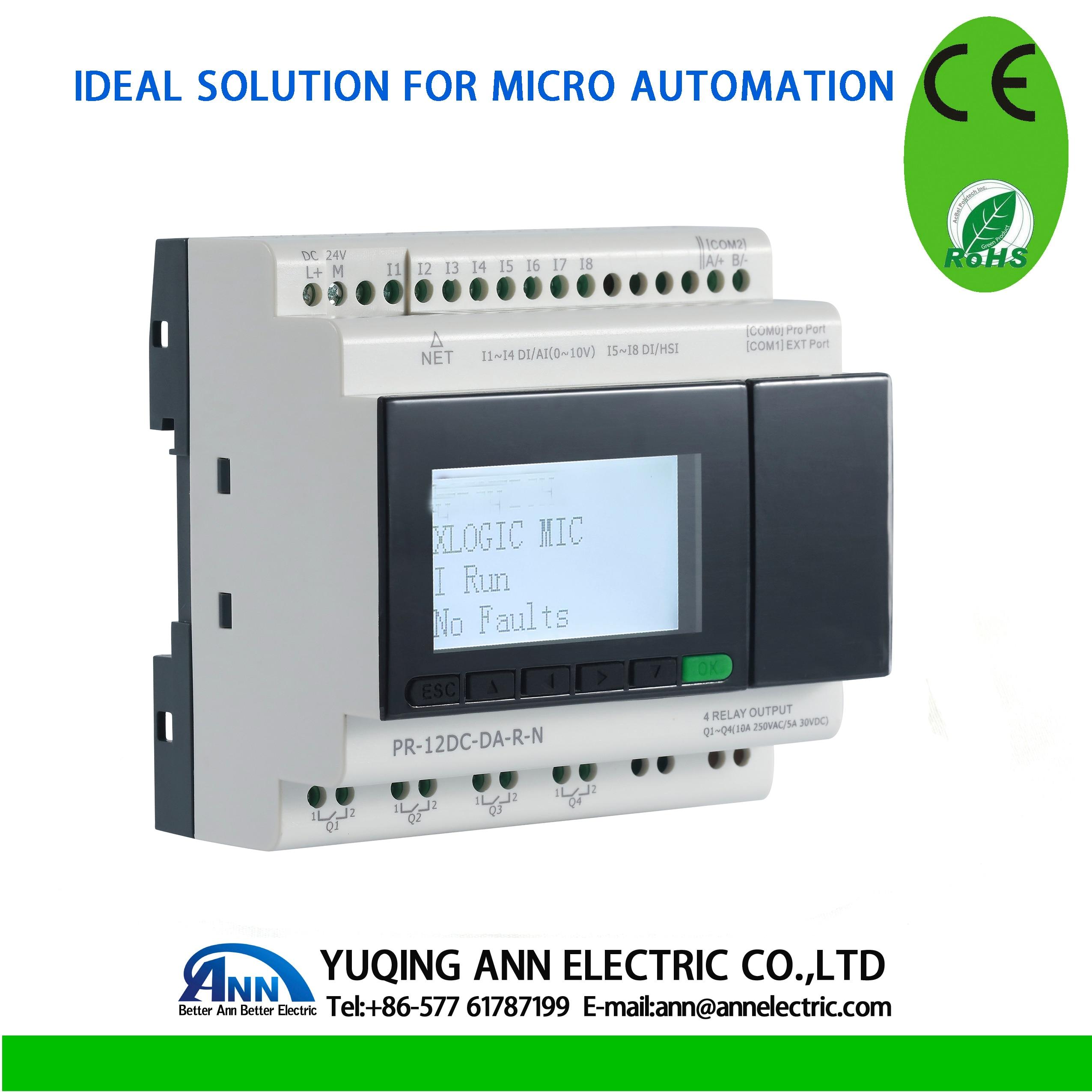 PR-12DC-DA-R-N avec écran LCD, sans câble, DC 24 V, 4 DI/AI + 4DI, 4DO, mini PLC, contrôleur logique programmable, PLC, relais intelligent
