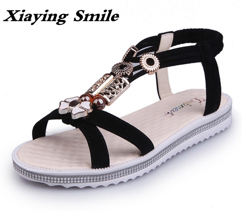 Xiaying Smile Summer Woman Sandals Women Flats Shoes Casual Fashion Bohemian Style Beach Slip On String Bead Flock Women Shoes xiaying smile woman sandals summer square cover heel closed toe woman pumps buckle strap fashion casual hollow flock women shoes