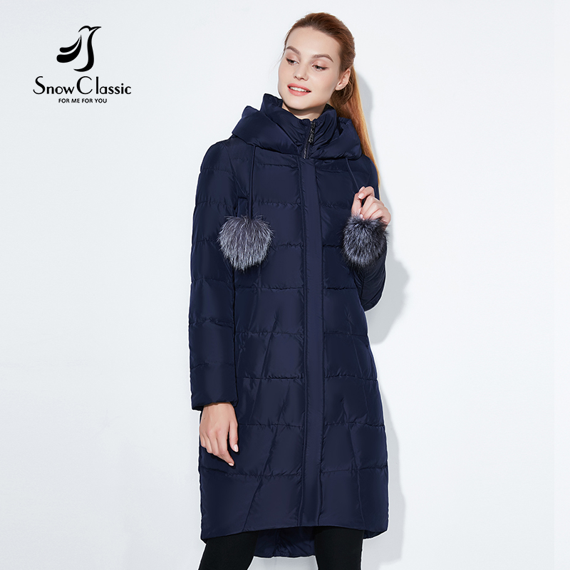 SnowClassic 2018 hiver longue veste femmes manteau chaud mode Preppy Style outwear solide épais veste bord avant renard col de fourrure