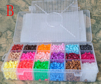 Wholesale Fashion 5mm Hama Perler Beads 5400pcs Beads 18 Kinds Colors With Big Square Pegboards Hot