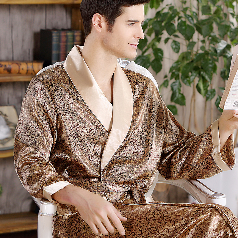 Thoshine Brand Spring Autumn Men Satin Silk Robe Turn Down Collar Pattern Print Superior Quality Male Summer Bathrobe Pijamas