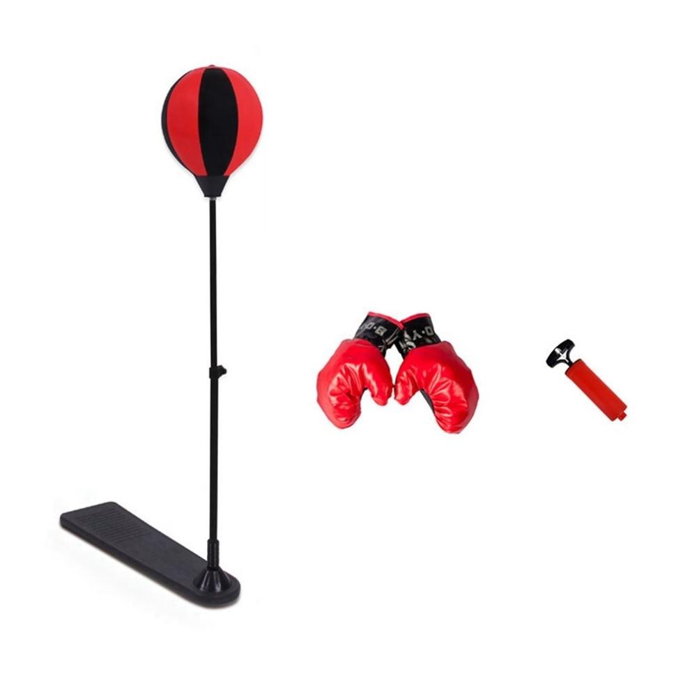 Réglable Fitness boxe poinçon poire vitesse balle détendu boxe sac de boxe sac de vitesse pour enfants + gant + pompe + Base + poteaux ensemble
