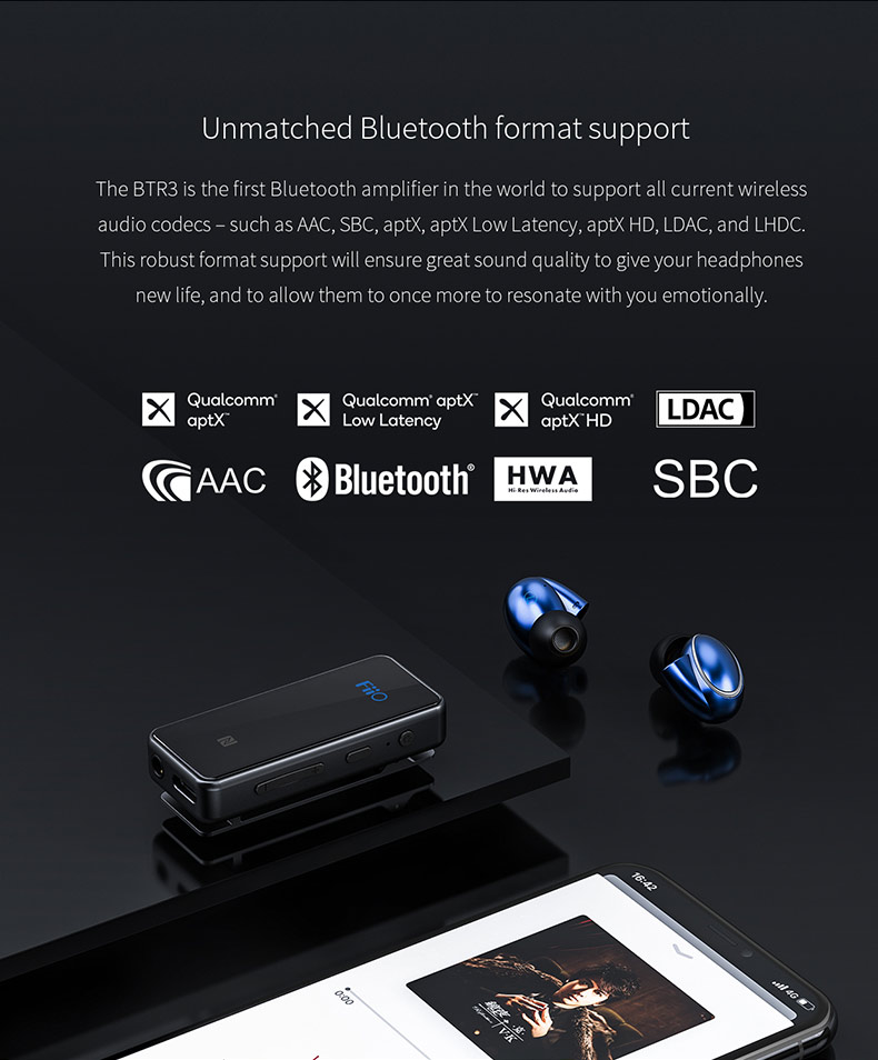 US $69 59 13% OFF|FiiO BTR3 Bluetooth Receiver 4 2 aptXLL Wireless  Bluetooth Audio Receiver 3 5mm Car Aux Bluetooth Adapter for Speaker  Headphone-in