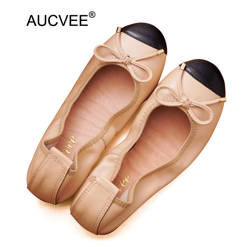 Baleriny Woman Loafers Luxury Ballet Flats Shoes Women Designers Slip On Genuine Leather Lady Shoes Bowtie