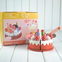 Envío gratis cocina fresa juguete de madera pequeña simultation cumpleaños red corte de la torta para diversión juego de imaginación juguete
