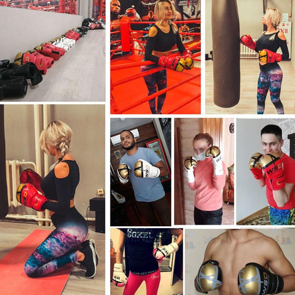 Alta qualidade adultos mulheres/homens luvas de boxe couro mma muay thai boxe de luva luvas sanda equipments8 10 12 6 oz 6