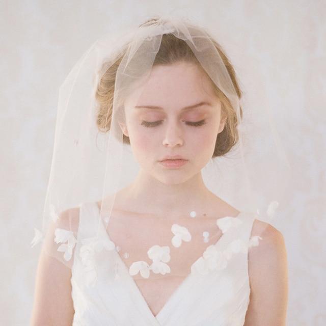 Short Wedding Veils New Birdcage Veil One Layer Soft Tulle Bridal Blusher Fashion Cap Cut Edge Flowers Wedding Veil FV03