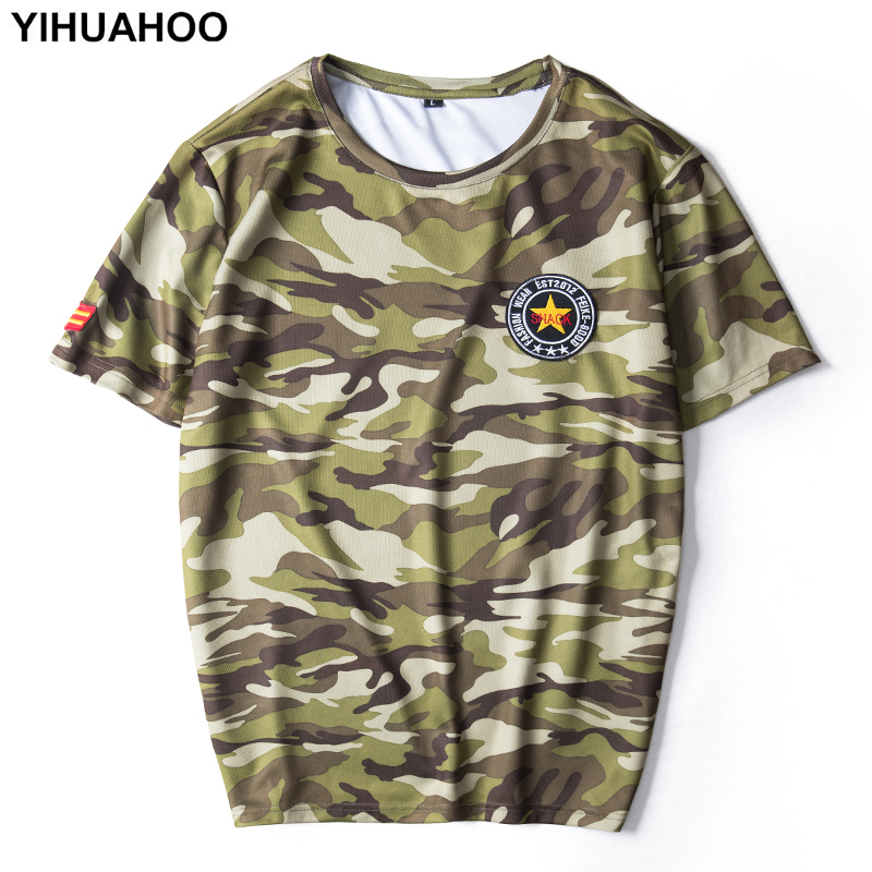 YIHUAHOO Summer T shirt <font><b>Men</b></font> Plus Size 6XL 7XL 8XL Camouflage Military <font><b>Army</b></font> <font><b>Tshirts</b></font> <font><b>Mens</b></font> Thin Breathable Casual Tees Tops PYS-813 image