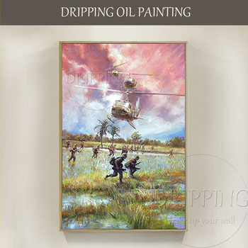 Free Shipping High Quality Hand-painted War Oil Painting on Canvas Hand-painted Warring Fighters and Soldiers Oil Painting