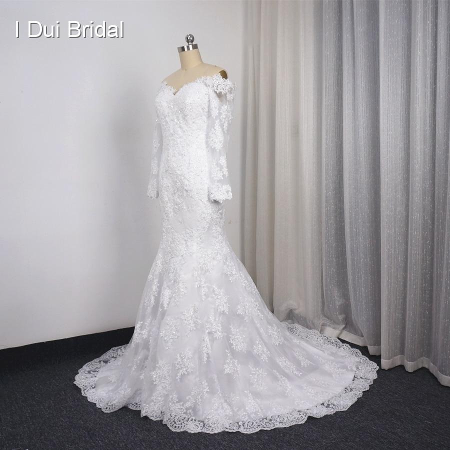 Three Quarter Sleeve Wedding Dresses Illusion Lace Back with Zipper ...