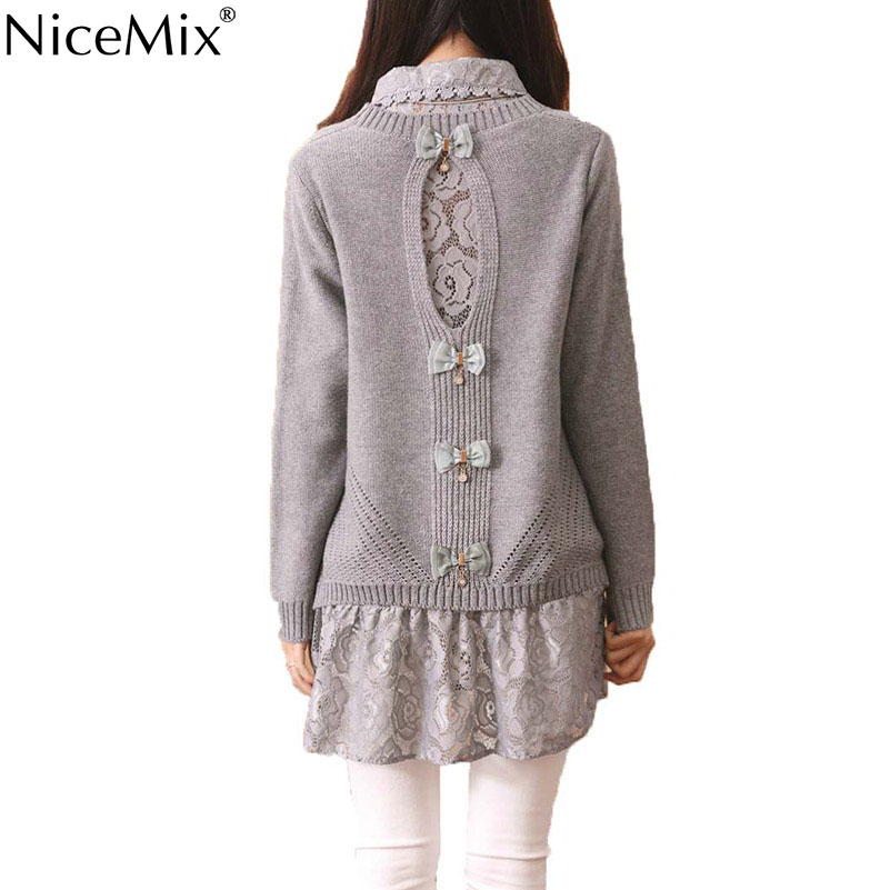 NiceMix Sweet Pullover Sweater Women 2016 Autumn Casual Sweater+Lace Dress Set Back Hollow Out Bow Patch Plus Size Long Sweaters