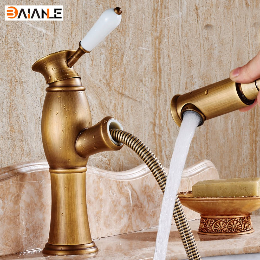 Basin Faucet Antique Single Handle Brass Pull Out Bathroom Tap Mixer Pull Down Cold & Hot Bath Sink Faucet Taps free shipping golden white basin mixer faucet single handle bathroom pull out vanity sink faucet hot and cold tap