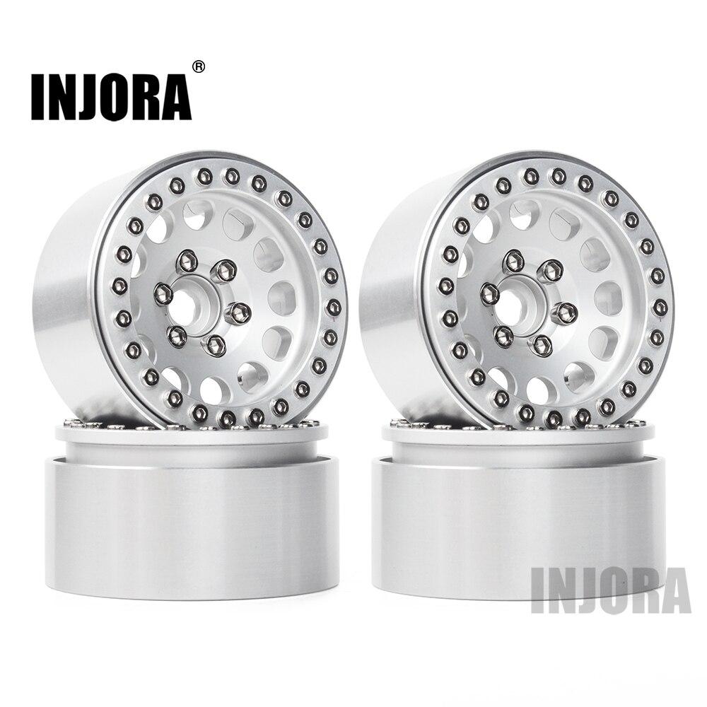 INJORA 4 stücke Aluminium Legierung 1,9 Beadlock Räder Felgen für 1/10 RC Crawler Axial SCX10 SCX10 II 90046 Traxxas TRX4 d90