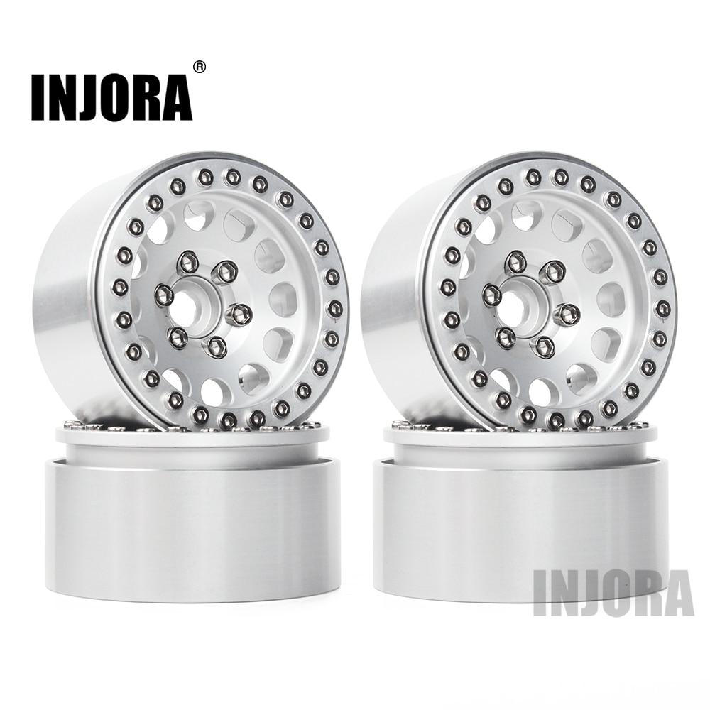 INJORA 4Pcs Aluminum Alloy 1.9 Beadlock Wheels Rims For 1/10 RC Crawler Axial SCX10 SCX10 II 90046 Traxxas TRX4 D90