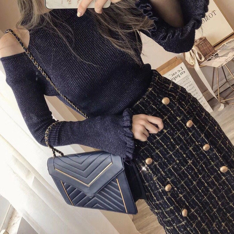 Winter Women Fashion Chic Tweed Skirt 2 Piece Sets Sexy Bare Shoulders Sweater Button Plaid Split Skirt Sets