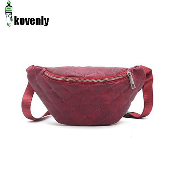 Women Waist Packs Black Pu Leather Fanny Pack Belt Bag Thread Ladies Multifunctional Shoulder Packs Shopping Travel Backbag 46