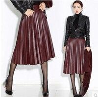 Primavera outono nova chegada da alta qualidade pu plissada saias longas maxi saia de couro feminino saia vintage preto a1700