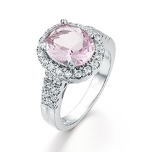 925 Sterling Silver Fashion Pink Crystal Close Diamond Egg Rings for Women European Beauty Zircon Engagement Hand Jewelry