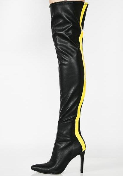 Le Martin Bottes Noir Bout Pointu Talons Cuisse Long En Pu Shipping As Patchwork Femme Cuir Zip Drop Genou Sur Dame Picture Jaune Stiletto UMVpzqS