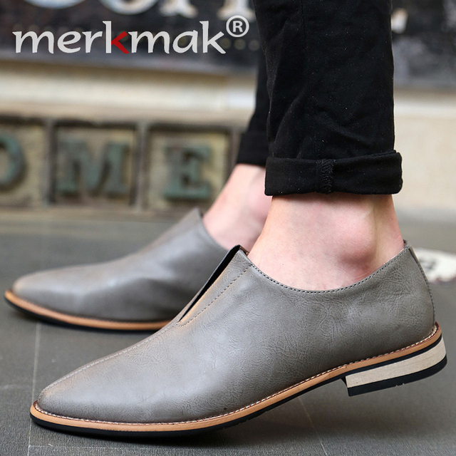 New 2016 Men Shoes Leather Top Brand Men's Oxfords Dress Shoes Spring Autumn Loafers Fashion Mens Flats Casual Male Man Shoes