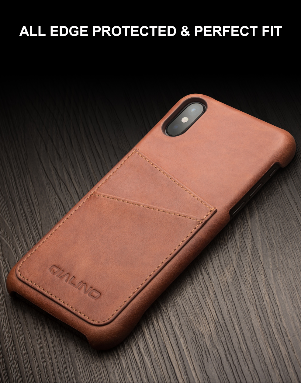 QIALINO Luxury Handmade Back Case Fashion Genuine Leather Card Slot Ultrathin Phone Bag Cover