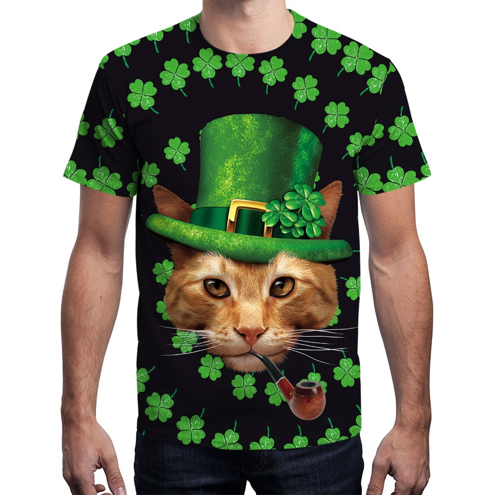 Four Leaf Clover Cat T shirts Men Women Tshirts 3d Print Top 121253