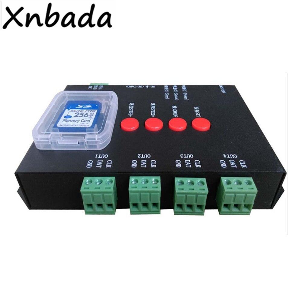 T-4000TTL SD Carte RGB Led de contrôle 4 Port Sortie DC5-24V Entrée Contrôleur Pour WS2812B Led Bande Bande Éclairage