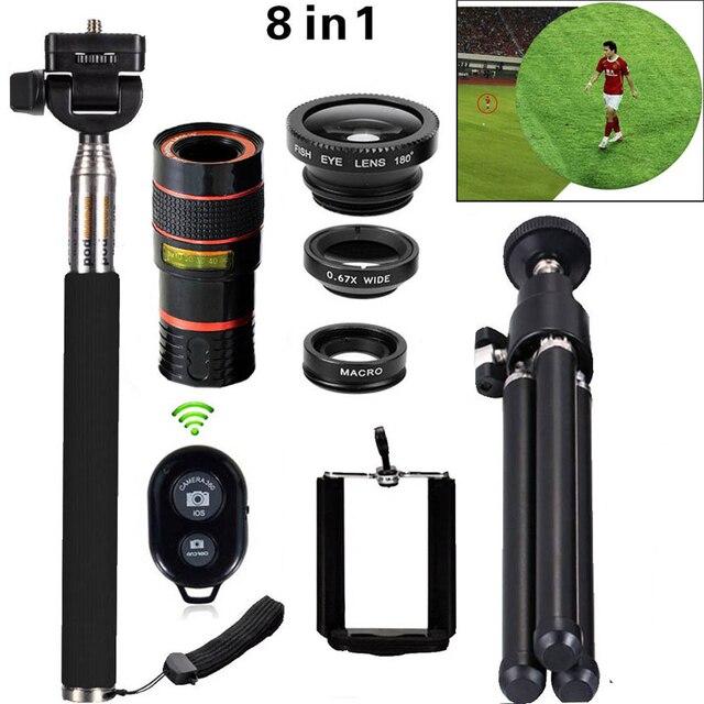 8in1 12X Зум Камеры Телеобъектив Телефон Телескопа 3in1 Клип на Lens Kit Bluetooth Широкоугольный Рыбий Глаз Макро Для iPhone Samsung
