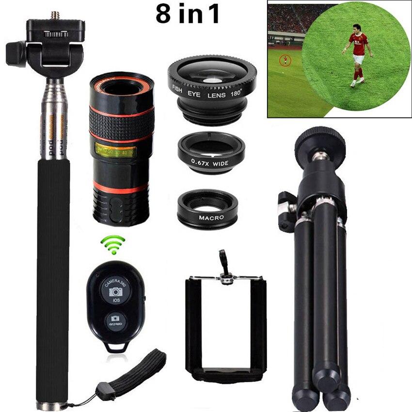 bilder für 8in1 12x-zoom-kamera Teleobjektiv-teleskop Teleskop 3in1 Clip auf objektiv Kit Bluetooth Weitwinkel Makro Für iPhone Samsung