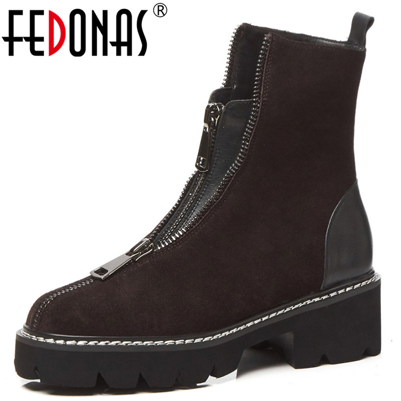 FEDONAS Fashion 2019 Women Ankle Boots Cow Suede Quality High Heels Ladies Shoes Woman Round Toe Short Motorcycle BootsFEDONAS Fashion 2019 Women Ankle Boots Cow Suede Quality High Heels Ladies Shoes Woman Round Toe Short Motorcycle Boots