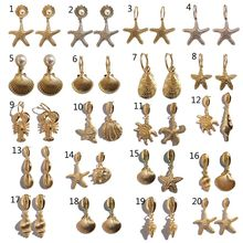 Summer Metal Cowrie Shell Conch Starfish Drop Earrings Women Statement Jewelry