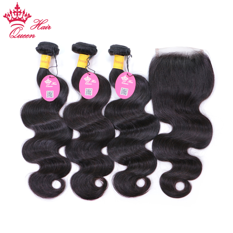 Queen Hair Peruvian Hair Bundles with Lace Closure Body Wave Hair 3 Bundles with 1pc Closure 100% Human Remy Hair Nature Color ...