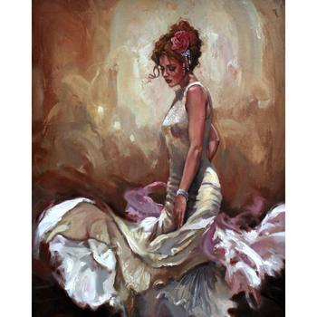 Handmade oil paintings dancer figurative Rose in Her Hair canvas art for wall decor