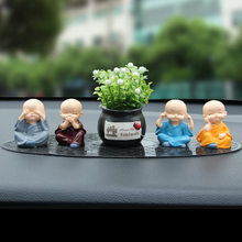 new style Car decoration four not small monk personality creative resin cartoon baby auto accessory gift(China)