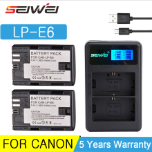 2600mAh LP-E6 LP E6 Digital Camera Battery + USB Charger for Canon EOS 5D Mark II 2 III 3 6D 7D 60D 60Da 70D 80D DSLR EOS 5DS free ship track vertical battery grip for canon eos 5d mark iii 3 5diii 5d3 slr camera ir remote 2 x lp e6 replace of bg e11