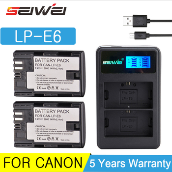 цена на 2600mAh LP-E6 LP E6 Digital Camera Battery + USB Charger for Canon EOS 5D Mark II 2 III 3 6D 7D 60D 60Da 70D 80D DSLR EOS 5DS