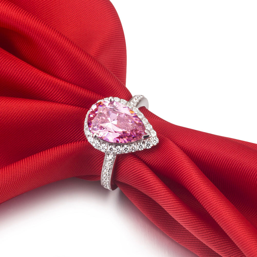 Genuine 14K White Gold Jewelry Gorgeous Ring Drop Shape 3CT Diamond