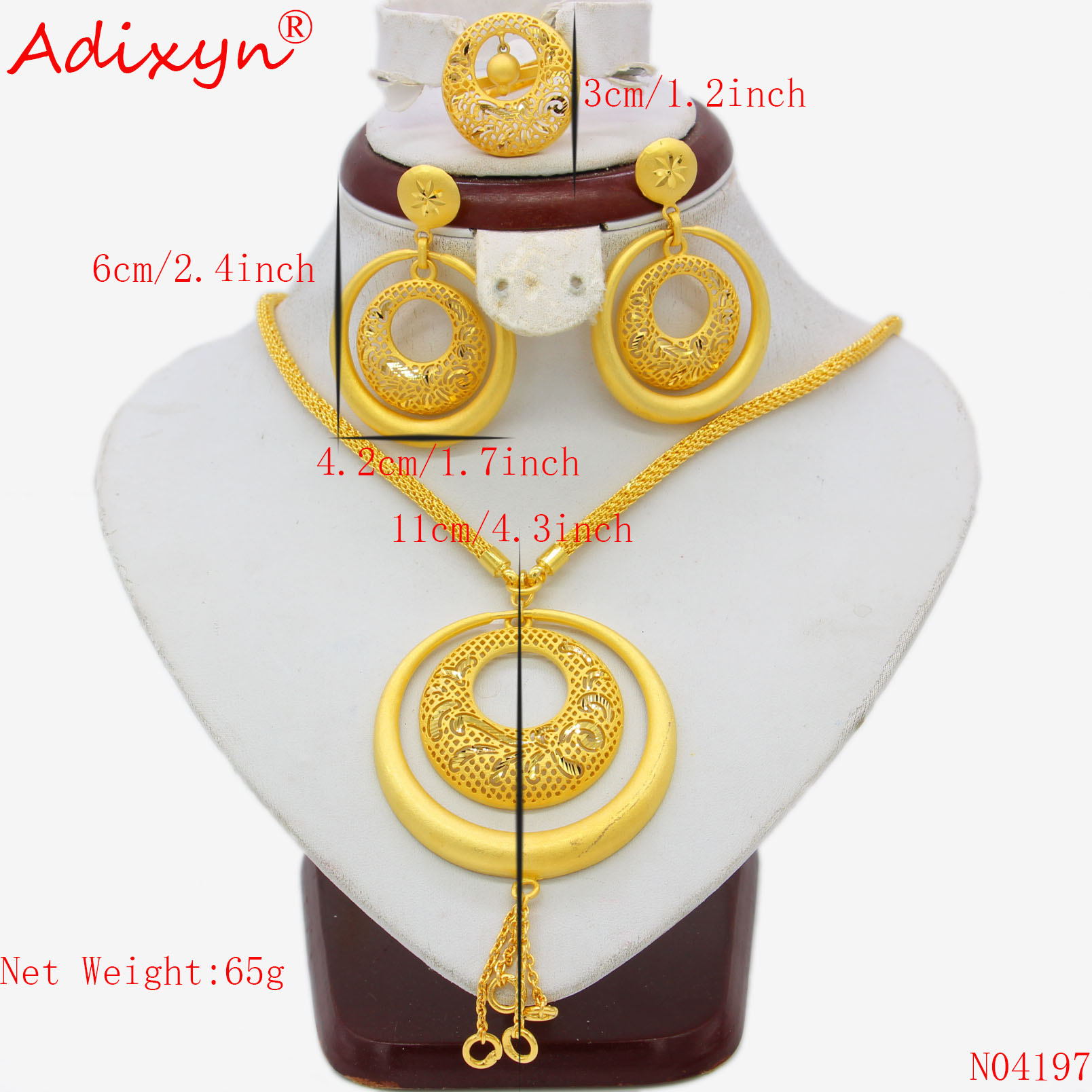 Adixyn India Big Heavy Jewelry Set Gold Color Long Necklace Earrings Ring Pendant For Women African Adixyn India Big Heavy Jewelry Set Gold Color Long Necklace/Earrings/Ring/Pendant For Women African Wedding Jewelry Gifts N04197