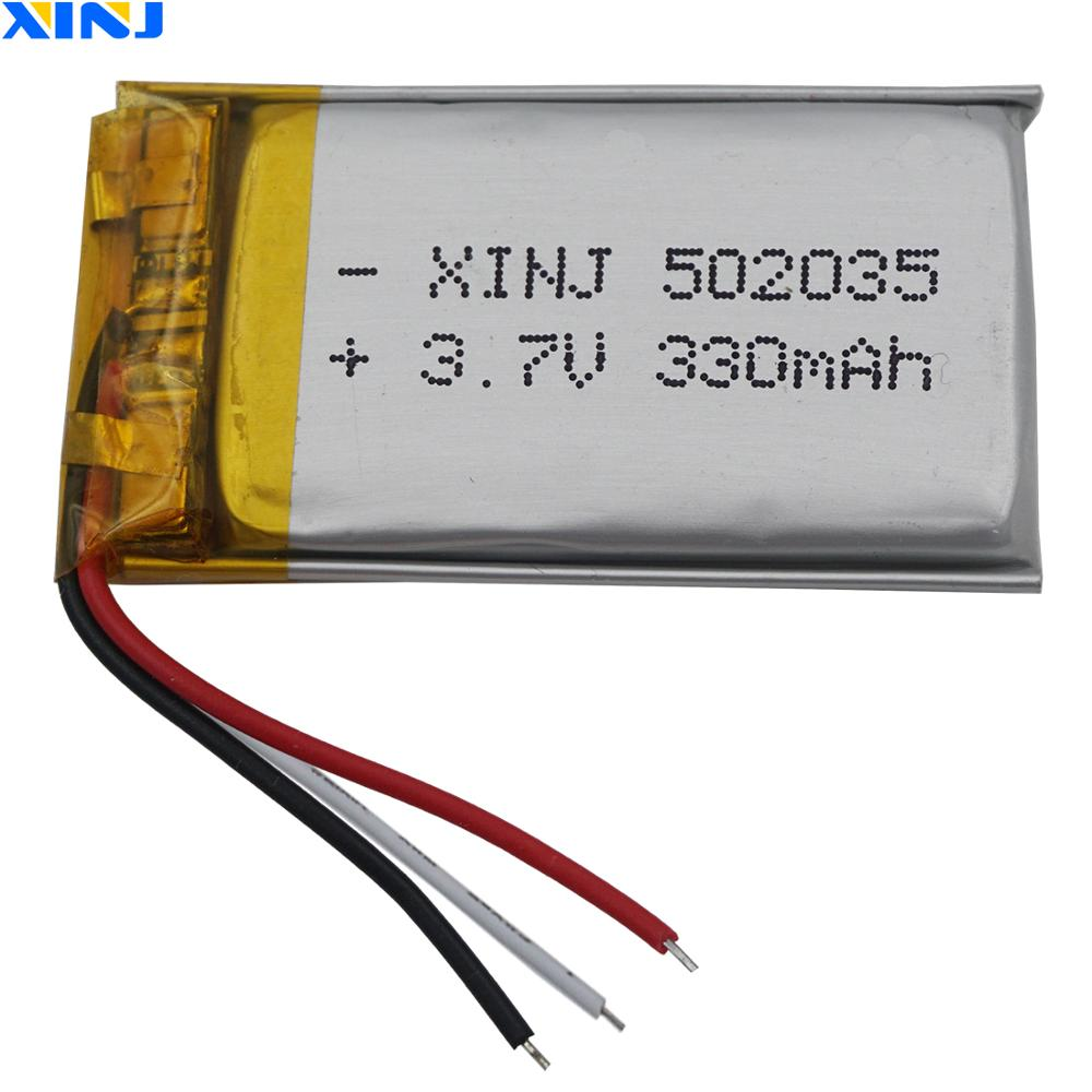 XINJ 3.7V 330mAh 3wires for thermistor Lithium Polymer Li-Po Battery 502035 For <font><b>MP3</b></font>/MP4 Camera E-book <font><b>Bluetooth</b></font> device DVC DVR image